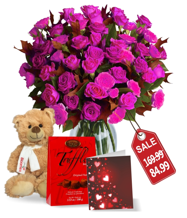 100 Blooms of Hot Lady Valentines Spray Rose Combo II