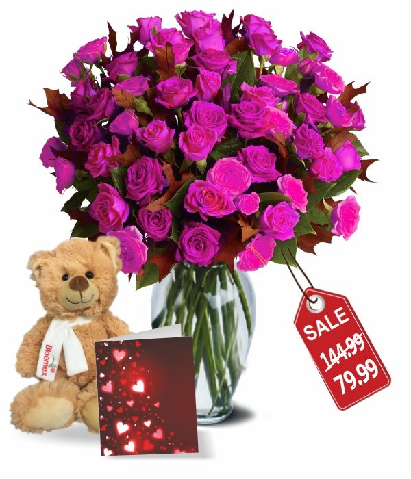 100 Blooms of Hot Lady Valentines Spray Rose Combo I