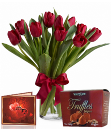 10 Red Tulips, Truffles & Card