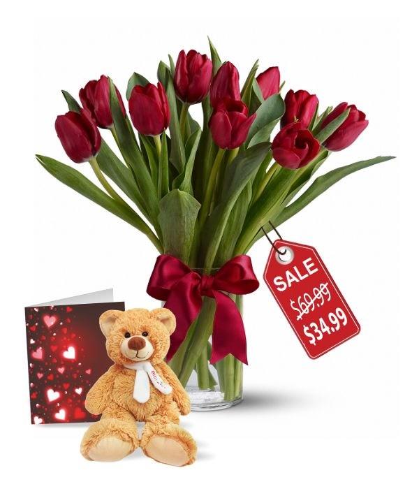 10 Valentine Tulips, Teddy & Card