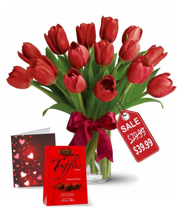 15 Tulipes rouges, truffes et cartes