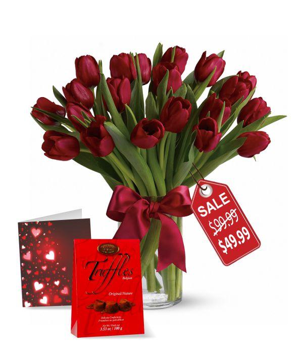 20 Valentine Tulips, Truffles & Card