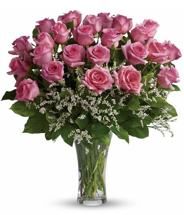 24 roses rosées à longues tiges