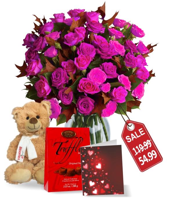 50 Fleurs Roses - Valentine Spray Combo II