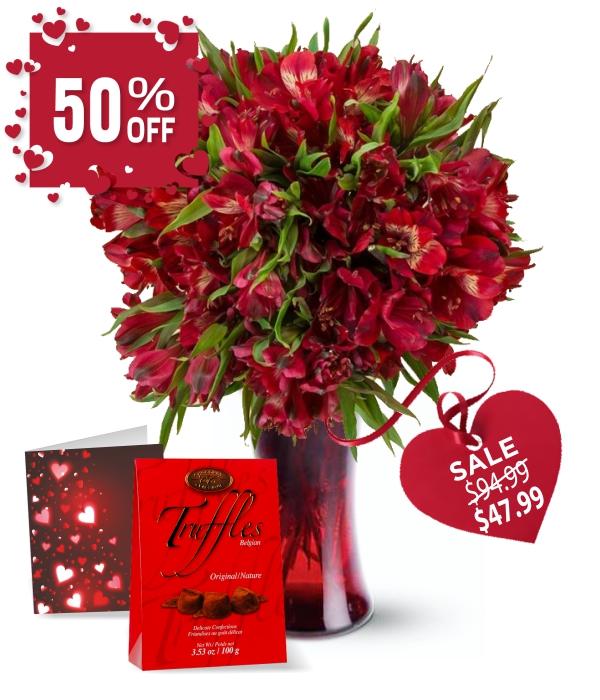 50 fleurs de Valentine alstroemeria III