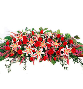 Rose and Lily Casket Arrangement