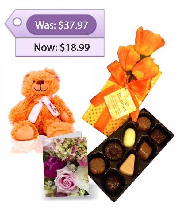 Ours en peluche, chocolats et carte