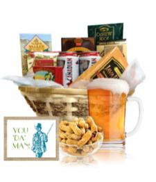 Panier cadeau de bière et noix