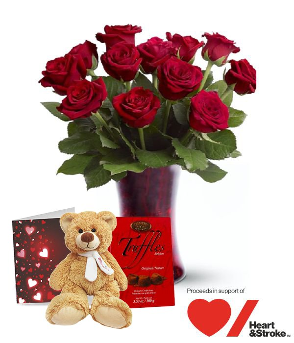 Valentine Blooming Heart Roses Combo