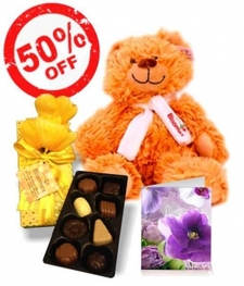 Chocolates, Teddy & Card