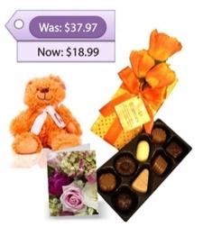 Teddy Bear, Chocolates & Card