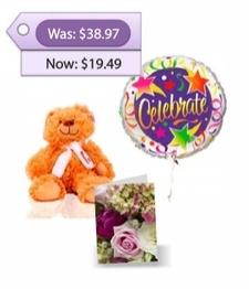 Teddy Bear, Balloon & Card