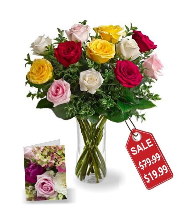 Dozen Mixed Roses & Card