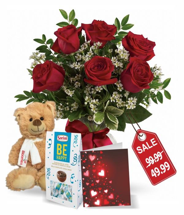 Half Dozen Sweetheart Rose Combo