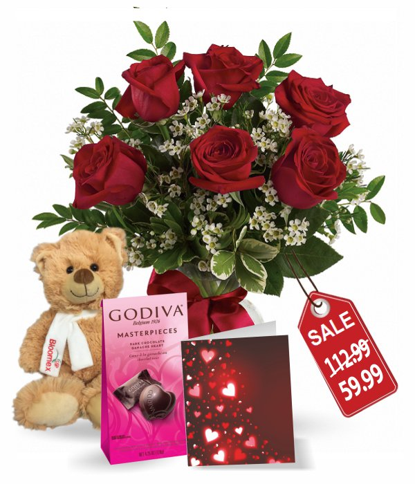 Six Sweetheart Rose Combo