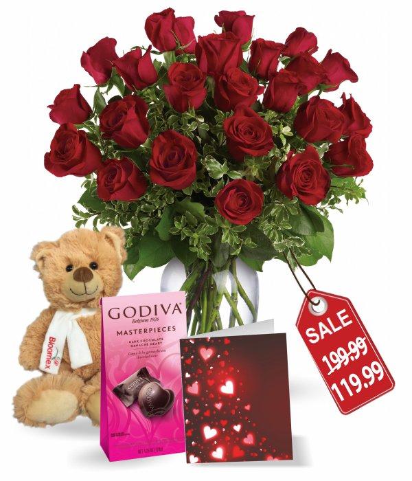 24 Long Stem Red Rose Combo