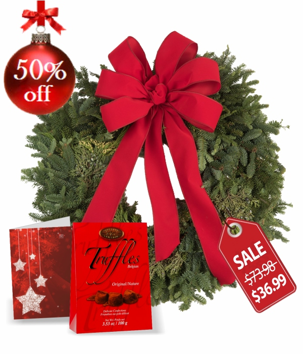 Live Holiday Wreath, Truffles & Card