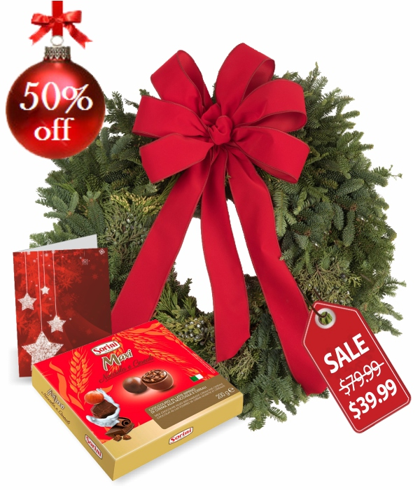 Live Holiday Wreath, Pralines & Card