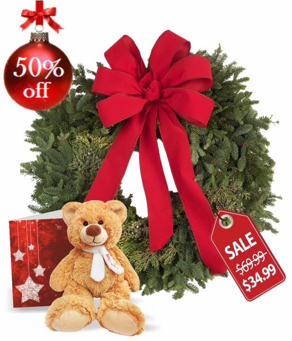 Live Holiday Wreath,Teddy & Card