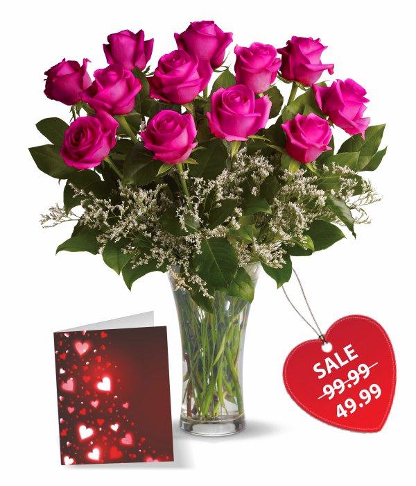 One Dozen Hot Lady Roses
