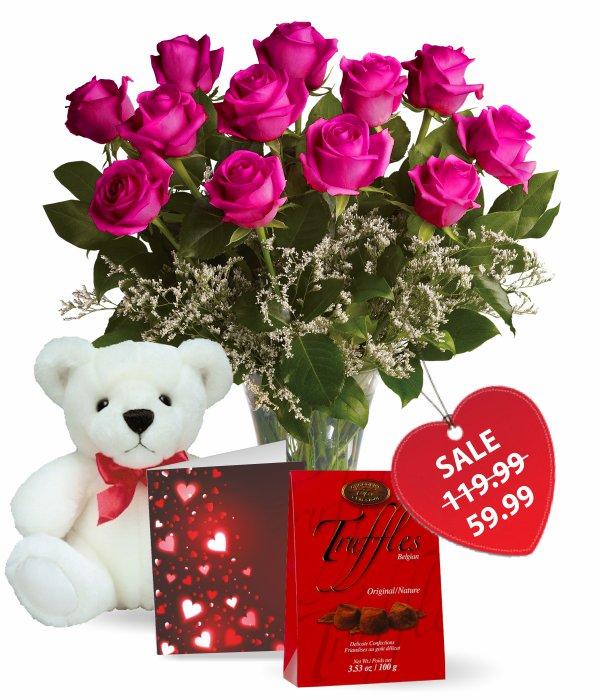 One Dozen Hot Lady Roses Combo