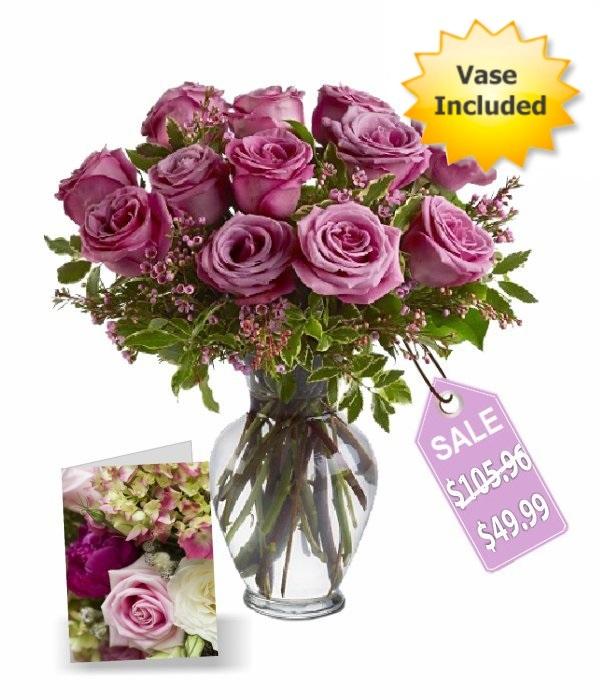 One Dozen Lavender Roses II