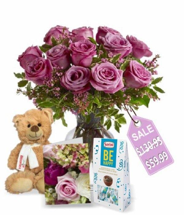 One Dozen Lavender Roses IV