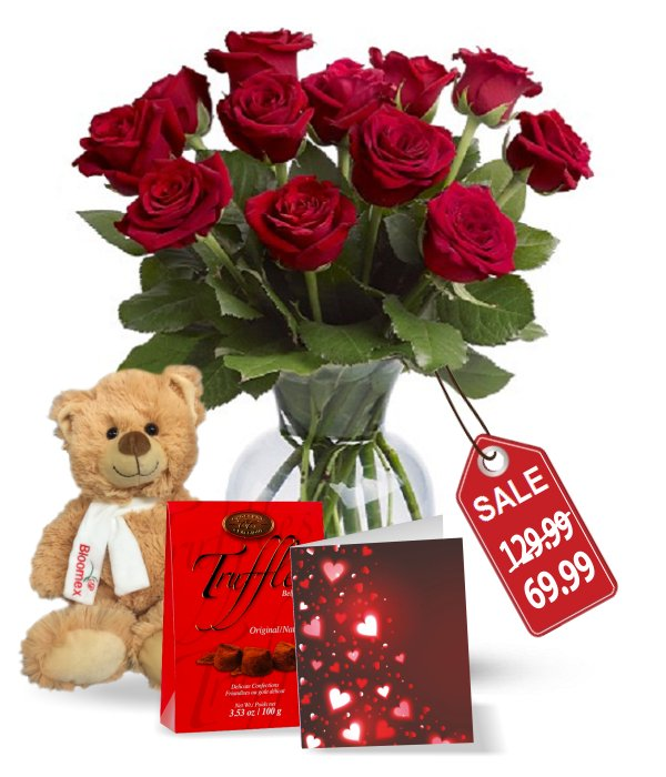 One Dozen Long Stemmed Red Rose Combo