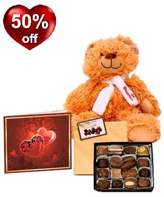 Chocolates, Teddy & Card