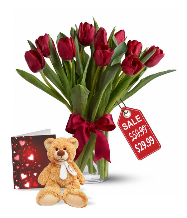 10 Valentine Tulips, Teddy & Card