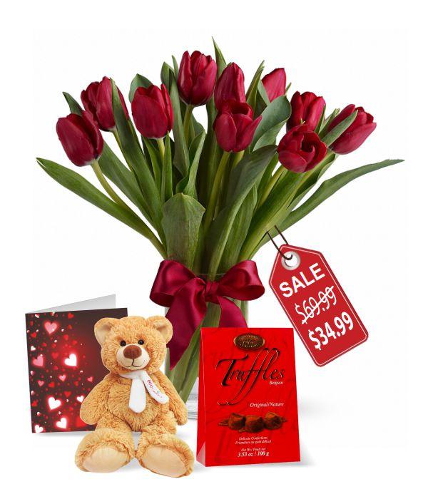 10 Valentine Tulips, Truffles, Teddy & Card