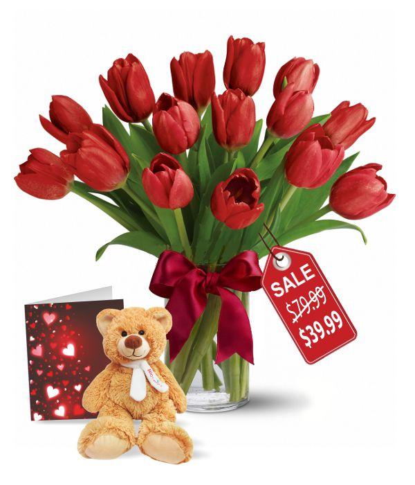 15 Valentine Tulips, Teddy & Card