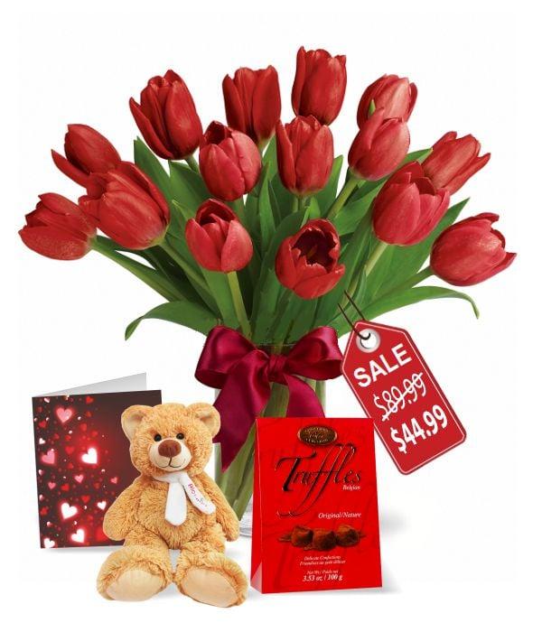 15 tulipes Valentine, truffes, nounours et carte