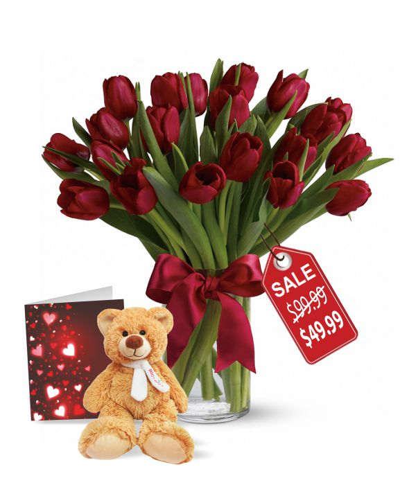 20 Valentine Tulips, Teddy & Card