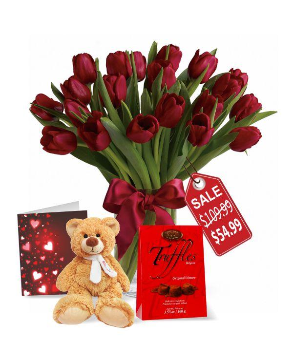 20 tulipes, truffes, nounours et carte de la Saint-Valentin