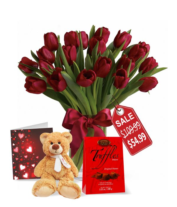 20 Valentine Tulips, Truffles, Teddy & Card