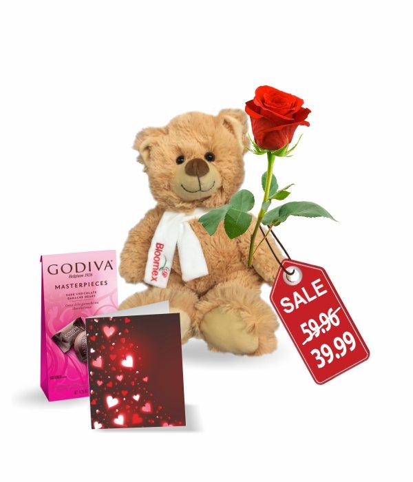 Teddy, Rose, Godiva & Card