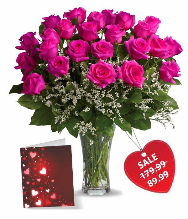 Deux douzaines de roses dame chaude