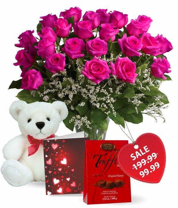 Two Dozen Hot Lady Roses Combo