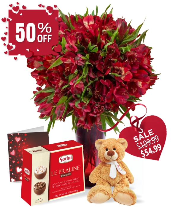 50 fleurs de Valentine alstroemeria IV