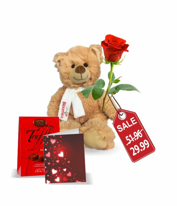 Teddy, Rose, Truffles & Card