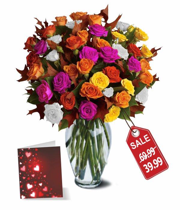 50 fleurs de roses assorties
