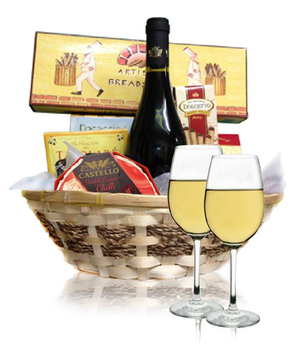White Wine & Cheese Basket