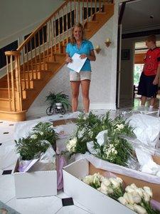 Rhonda's wedding - flowers arrived arranged